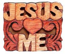 Magnet: Wood Jesus Loves Me