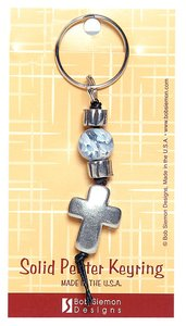 Keyring: Cross and Blue Marble (Lead-free Pewter)
