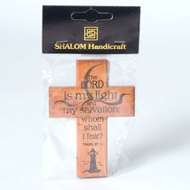 Small Wood Cross: The Lord is My Light and My Salvation