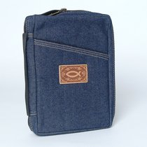 Bible Cover Blue Denim With Leather Fish Logo Large