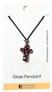 Murrine Glass Pendant: Black Cross With Flowers Adjustable Braided Cotton Cord