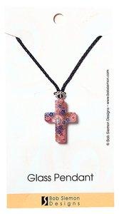 Murrine Glass Pendant: Purple Cross With Flowers Adjustable Braided Cotton Cross