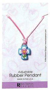 Rubber Pendant: Cross/Flower John 3:16 Adjustable Lace Cord