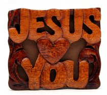 Magnet: Wood Jesus Loves You