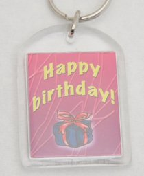 Plastic Keyring: Happy Birthday