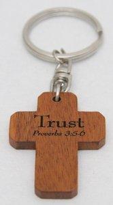 Wooden Cross Keyring: Trust Proverbs 3:5-6