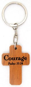 Wooden Cross Keyring: Courage Psalm 31:24