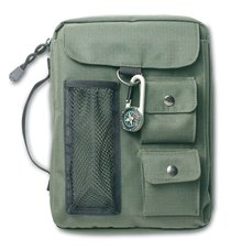Bible Cover Green Canvas With 3 Pockets & Compass Extra Large