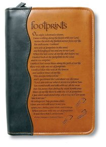 Bible Cover Footprints Duo-Tone Black/Tan Large