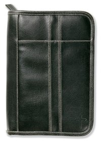 Bible Cover Distressed Leather-Look Black Large