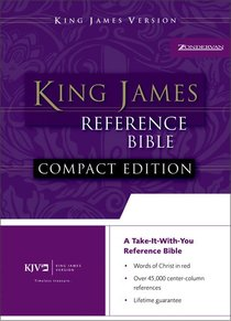 KJV Compact Reference Button-Flap Burgundy Leather-Look Bible