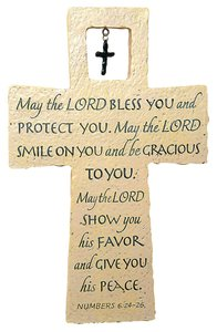 Cross With Metal Cross: May the Lord Bless You Numbers 6:24-26