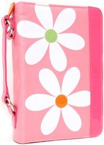 Bible Cover Daisy Pink With Zipper Pocket - Medium