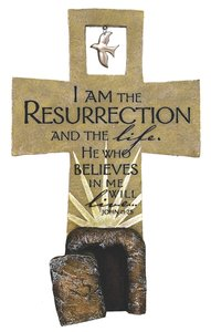 Resurrection Sculpture Cross John 11:25 (Polyresin)
