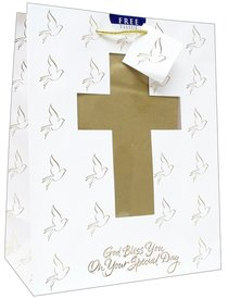 Gift Bag Large: Confirmation/Communion (Incl Tissue Paper & Gift Tag)