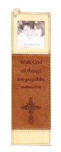 Bookmark With Photo Frame: Matthew 19:26 Luxleather