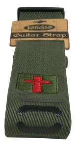 Guitar Strap John 3:16 Green/Brown With Black Text Red Cross