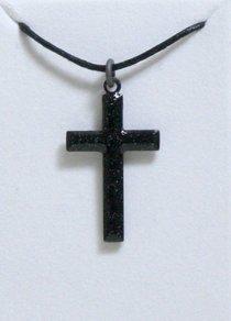 Pendant: Cross Black Enamel