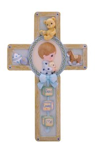 Precious Moments Wall Cross: Boy, Jesus Loves Me