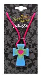 Cherished: Heart Burst Fun Cross Necklace Colorful Plastic Aqua