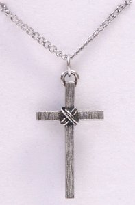 Pendant: Cross Textured Wrapped (Pewter)