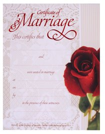 Certificate: Marriage Red-Foil Embossing (1 John 3:1)