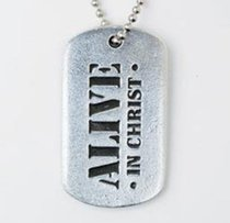 Tag Pendant: Alive in Christ (Pewter)