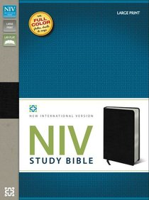 NIV Study Bible Large Print Black Indexed (Red Letter Edition)