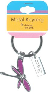 Metal Keyring: Purple Dragonfly