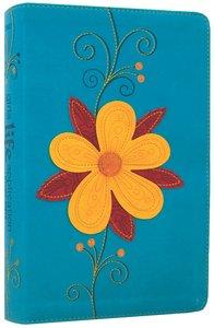 NLT Girls Life Application Study Bible Teal/Glittery Gold Blossom