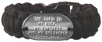 Paracord Bracelet: The Lord is My Rock Psalm 18:2, Black