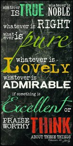Mounted Print: Whatever is True, Philippians 4:8, on Mdf Board