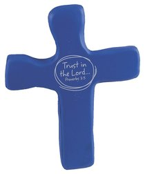 Squeezable Foam Rubber Cross: Blue, Trust in the Lord