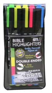 Zebrite Wet Double Ended No Bleed Through Bible Highlighter Set of 5