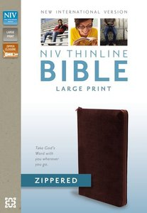NIV Large Print Thinline Zippered Collection Bible Burgundy (Red Letter Edition)