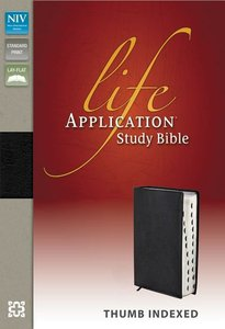 NIV Life Application Study Black Top Grain Leather Indexed (Red Letter Edition)