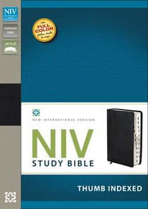 NIV Study Bible Regular Black Top Grain Leather Indexed (Red Letter Edition)