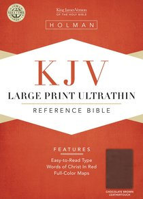 KJV Large Print Ultrathin Reference Bible Chocolate/Brown Leathertouch