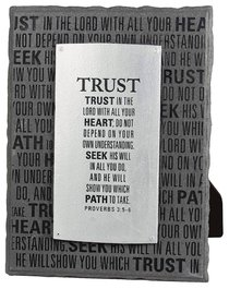Black and Silver Layered Plaque: Trust, Proverbs 3:5-6