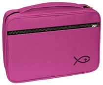 Bible Cover Deluxe With Fish Symbol: Fuchsia Large