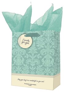 Gift Bag Small: Grace and Glory Blue/Cream Pattern