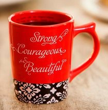 Classic Ceramic Mug: Strong, Courageous & Beautiful (Psalm 16:11 Tlb) (Red/black/white)