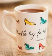 Classic Ceramic Mug: Walk By Faith, (2 Corinthians 5:7 NKJV) (White/coloured Shoes)