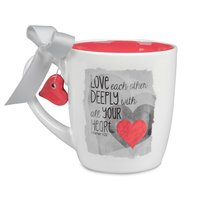 Blessings on Canvas Ceramic Mug: Love Deeply With Red Heart