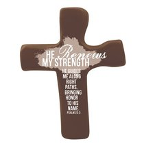 Squeezable Palm Cross: He Renews My Strength (Brown)