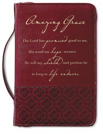 Amazing Grace Bible Cover Large Italian Duo-Tone Rich Red