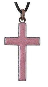 Pendant: Cross Pink Enamel