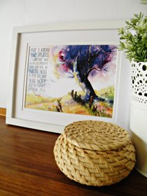 Small Framed Print: Purple Tree With Path - I Know the Plans I Have For You Jeremiah 29:11