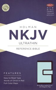 NKJV Ultrathin Reference Bible Brown/Blue With Magnetic Flap