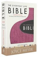 Amplified Joyce Meyer Everyday Life Bible Pink With Espresso Inset